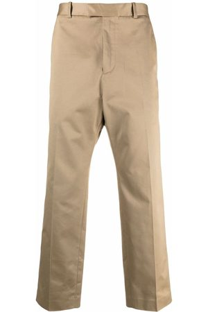 OAMC Straight-leg cropped cotton trousers - Neutrals