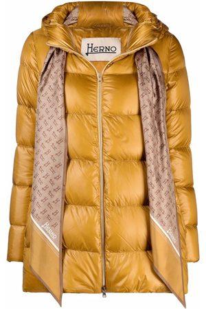 Herno Women Puffer Jackets - Scarf-detail padded jacket - Neutrals