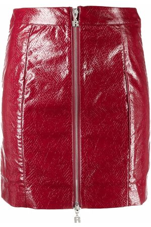 ROTATE High-waisted waxed skirt