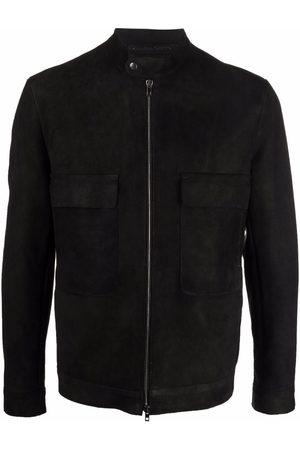 SALVATORE SANTORO Suede band-collar jacket