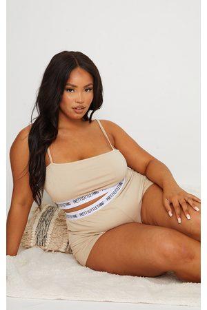PRETTYLITTLETHING Women Shorts - Plus Stone High Waist Shorts Lingerie Set