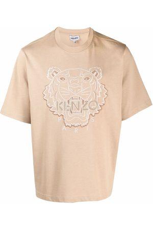 Kenzo Tiger-print short-sleeved T-shirt - Neutrals