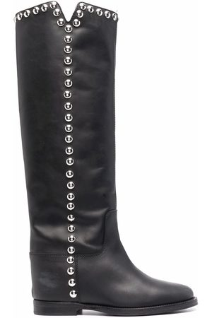 Via Roma Studded leather knee-length boots
