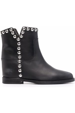 Via Roma Women Ankle Boots - Studded leather ankle boots