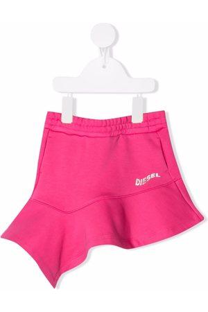 Diesel Girls Printed Skirts - Asymmetric logo-print skirt