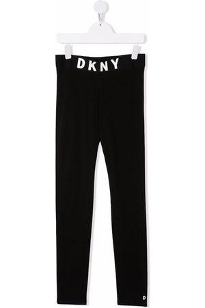 DKNY TEEN logo-waist organic cotton-blend track trousers