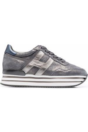 Hogan Women Platform Sneakers - H482 striped-platform leather sneakers - Grey