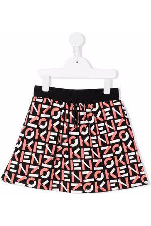 Kenzo Girls Printed Skirts - Graphic-print flared skirt