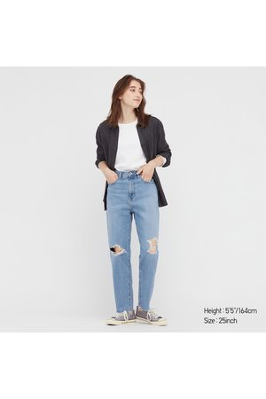 UNIQLO Women Denim - Women's Peg Top High-Rise Damaged Jeans, , 22 in.