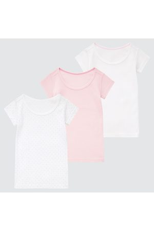 UNIQLO Toddler Cotton Ribbed Short-Sleeve T-Shirt (Set Of 3), , Ages 12-18M