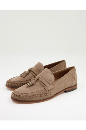 H by Hudson Guilder woven tassel loafers in taupe suede-Neutral