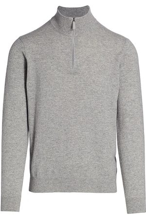 Saks Fifth Avenue Men's COLLECTION Cashmere Quarter Zip Sweater - Light Grey - Size XL