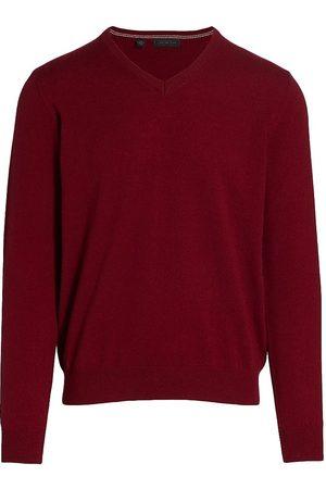 Saks Fifth Avenue Men's COLLECTION Cashmere V-Neck Sweater - Burgundy - Size XXL