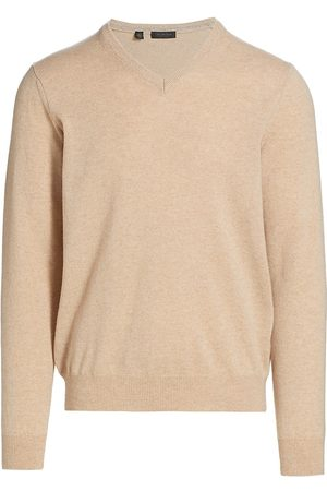 Saks Fifth Avenue Men's COLLECTION Cashmere V-Neck Sweater - Tan - Size XXXL