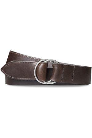 SHINOLA Men's Double Ring Leather Belt - Dark - Size Medium