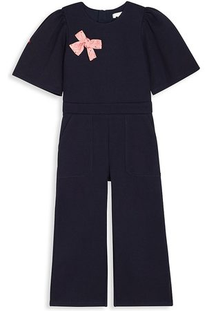 Chloé Boys Bow Ties - Little Girl's & Girl's Milano Bow-Accented Jumpsuit - Navy - Size 5