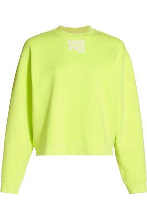 Alexander Wang Women's Logo Cotton Terry Sweatshirt - Neon Celandine - Size Large