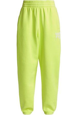 Alexander Wang Women's Structured Terry Puff Paint Sweatpants - Neon Celandine - Size XL