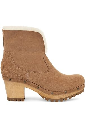 UGG Women's Thebes Suede Clog Boots - Chestnut - Size 9
