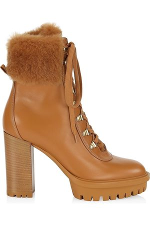 Gianvito Rossi Women Heeled Boots - Women's Alaska Leather Fur-Trimmed Boots - - Size 8.5