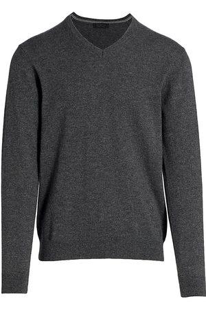 Saks Fifth Avenue Men's COLLECTION Cashmere V-Neck Sweater - Dark Grey - Size Medium