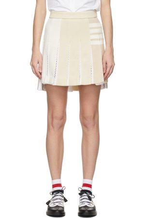 Thom Browne Yellow Loopback 4-Bar Pleated Miniskirt