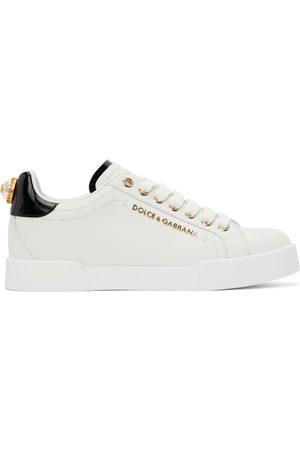 Dolce & Gabbana White & Black Pearl Portofino Sneakers