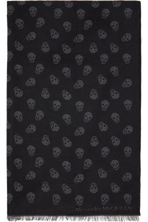 Alexander McQueen Reversible Black & Grey Skull Scarf