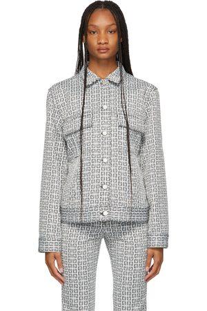 Givenchy Black & White Denim Jacquard 4G Jacket
