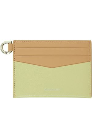Givenchy Green & Beige Colorblocked Edge Card Holder