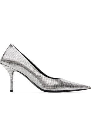 Balenciaga Silver Embossed Square Knife Pumps