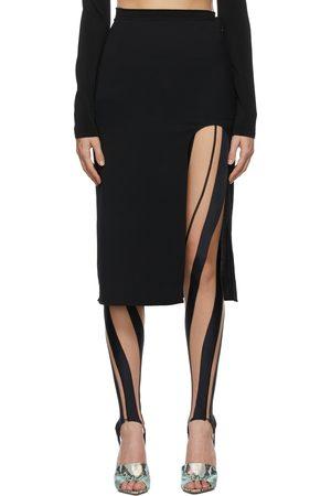 MUGLER Black Side Slit Pencil Skirt