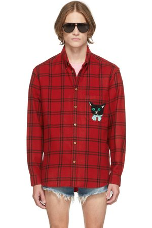 Gucci Red & Black Check Cat Patch Shirt