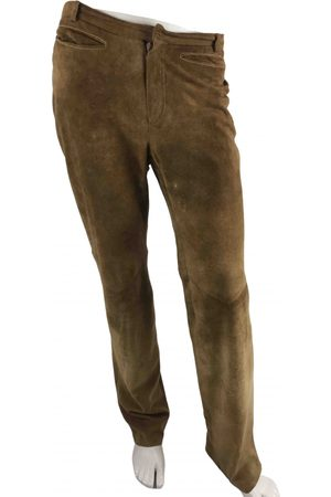 Costume National Men Leather Pants - Camel Leather Trousers