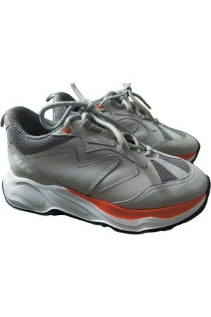 Msgm Grey Leather Trainers