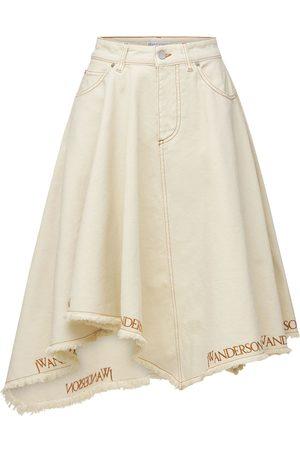 J.W.Anderson Logo Asymmetric Hem Cotton Denim Skirt