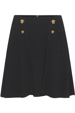 VERSACE Cady Mini Skirt W/ Medusa Button Details
