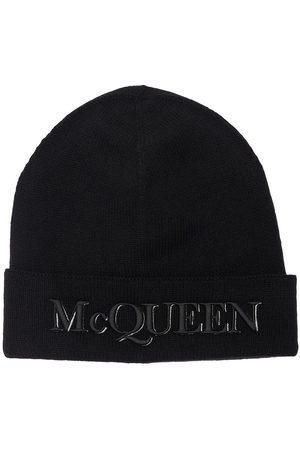 Alexander McQueen Men Beanies - Logo Cashmere & Wool Beanie