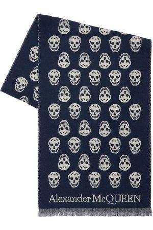 Alexander McQueen Skull Intarsia Wool Reversible Scarf