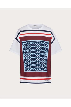 VALENTINO Men T-shirts - Cotton T-shirt With Valentino Foulard Archive Print Man Light / 100% Cotton 3XL