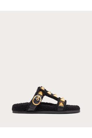 VALENTINO GARAVANI Women Sandals - Roman Stud Calfskin Slide Sandal 35 Mm Women 75% Wool 25% Polyester 35