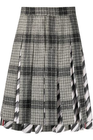 Thom Browne Men Suits - Pleated check-pattern suit skirt - Grey