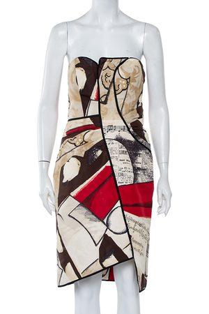 Oscar de la Renta Printed Silk Strapless Mini Dress L