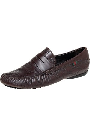 Gucci Men Loafers - Ssima Leather Slip On Loafers Size 41.5