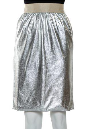 Dolce & Gabbana Metallic Faux Leather Pencil Skirt XS