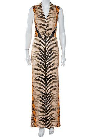 Roberto Cavalli Snakeskin Printed Knit Sleeveless Maxi Dress M