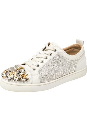 Christian Louboutin Leather Louis Junior Mix Spikes And Crystal Embellished Sneakers Size 41.5