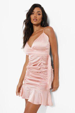 Boohoo Women Party Dresses - Womens Satin Ruched Detail Mini Dress - - 2