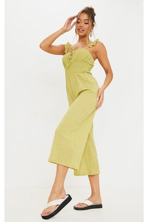 PRETTYLITTLETHING Women Culottes - Lime Shirred Waist Frill Strap Culotte Jumpsuit