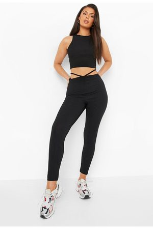 Boohoo Womens Pointed Waist Strappy Cut Out Ribbed Legging - - 6